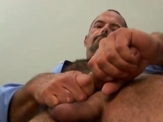 Hairy bear jerks hard cock / 58