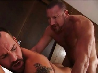 Hot bearded mature gay stud gets his throat fucked / 152