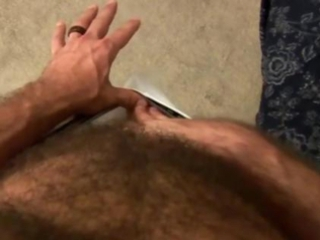 Hunky solo bear jerks off his hard cock / 97
