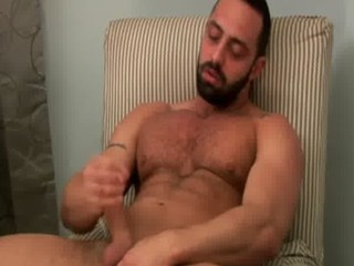 Gay bear sexy solo cock tug fun / 10