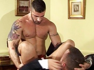 buff bearded guys bend each other over / 166