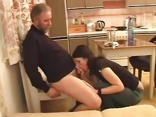 Cute brunette babe shags with old bearded man / 42
