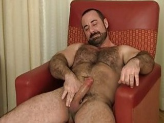 Bearded gay hunk jerks off his fat boner / 394