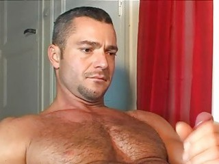 Hung handsome bear got a nice handjob from his lover / 201